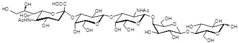 GM1b神经节苷脂类糖, GM1b Ganglioside sugar, Neu5Acα2-3Galβ1-3GalNAcβ1-4Galβ1-4Glc , C37H61N2O29Na, 货号:GLY097