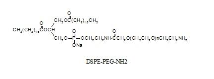 Laysan 二硬脂酰基磷脂酰乙醇胺-PEG-氨基 DSPE-PEG-Amine,一侧是乙胺基团,另一侧是DSPE(二硬脂酰基磷脂酰乙醇胺)的双官能团聚乙二醇。具有反应活性的伯胺,在DCC或EDC偶合条件下可以迅速与活性羧酸反应,例如NHS酯,生成稳定的酰胺键。聚乙二醇磷脂脂质体材料,可用于药物输送、基因转染和疫苗传递。聚乙二醇化磷脂能显著改善血液循环时间和稳定封装药物,还可用于靶向给药通过修改与目标表面配体如抗体、多肽。