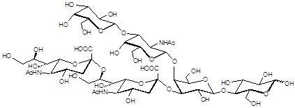 GD1b神经节苷脂类糖, GD1b Ganglioside sugar, Galβ1-3GalNAcβ1-4(Neu5Acα2-8Neu5Acα2-3) Galβ1-4Glc, C48H77N3O37Na2 , 货号:GLY099